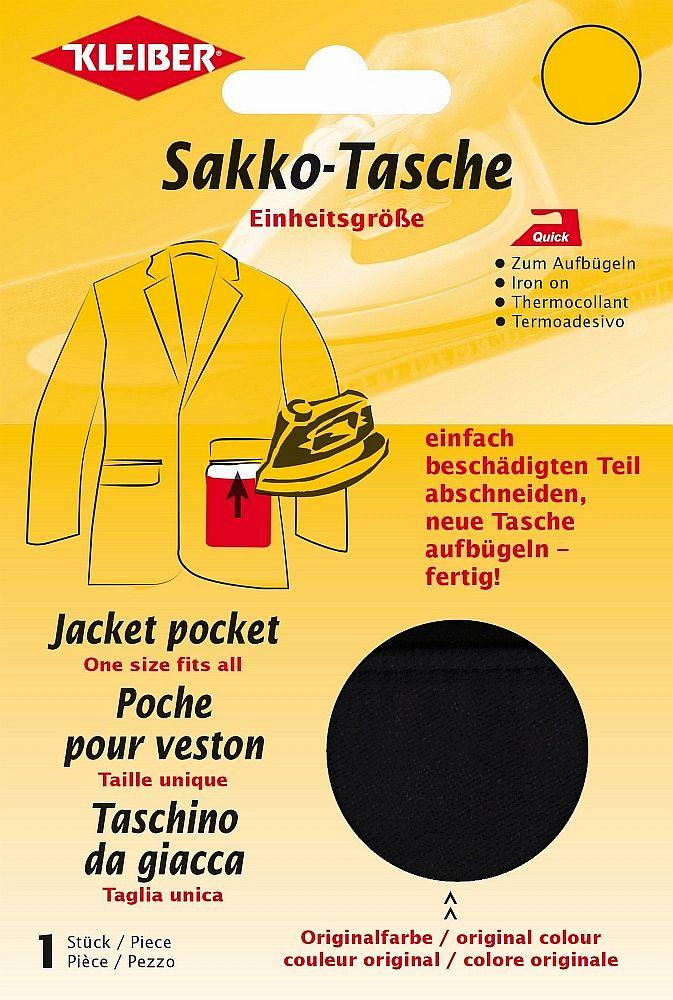 Kleiber Ersatz Hosentaschen aufbügelbar schwarz